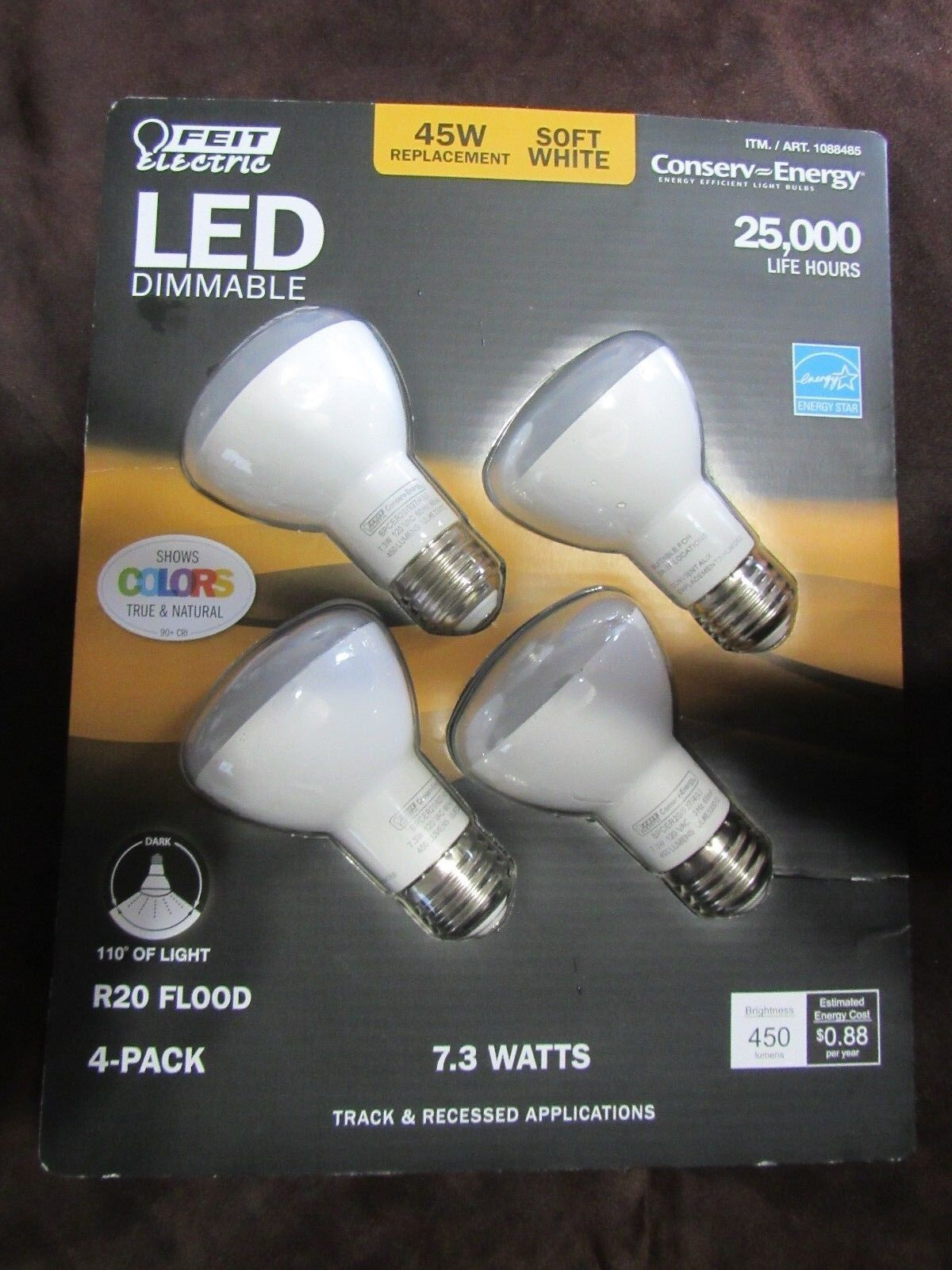 Paquete De 8 LED R20 Feit Electric Regulable Bombillas 8W = 45W inundación