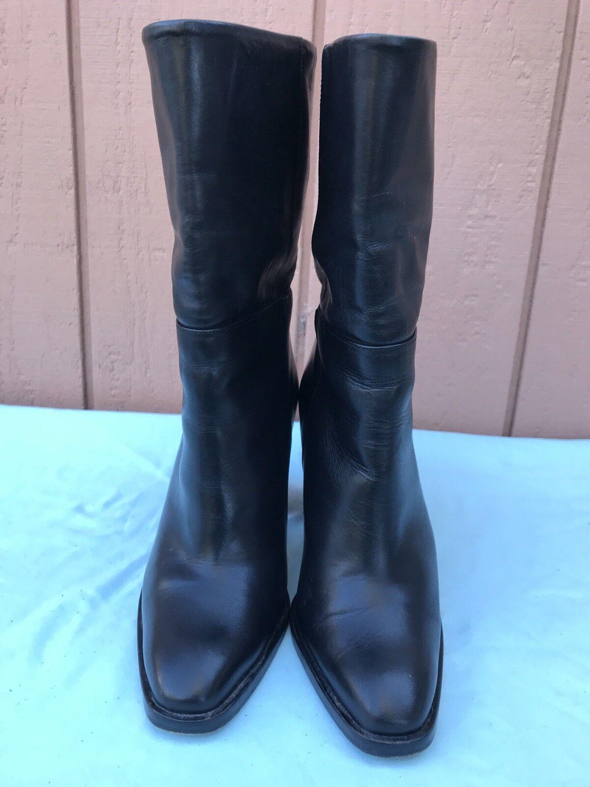 EUC  Massimo Dutti 38 US 7.5 Black Black Black Leather High Heel Pull On Mid Calf Boots AX 84b215