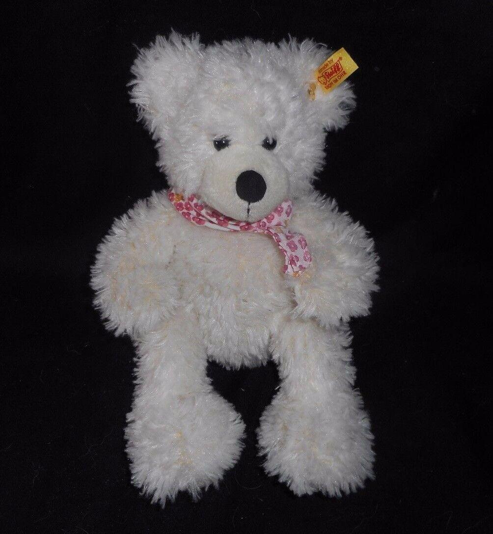 11  STEIFF 117503 LOTTE TEDDY BEAR WHITE W  FLOWER BIB STUFFED ANIMAL PLUSH TOY