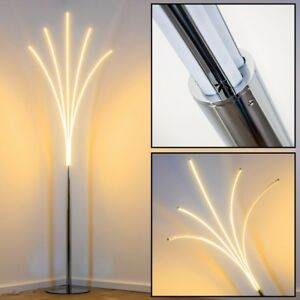 Dettagli su Lampada Stelo Metallo Cromo Design Luce LED Moderno Pianta  Salotto Soggiorno 20W