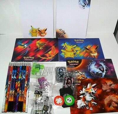23 ITEMS PENCILS,MARKERS,STICKERS,DICE /& NOTEPADS RANDOM POKEMON MIXED LOT OF