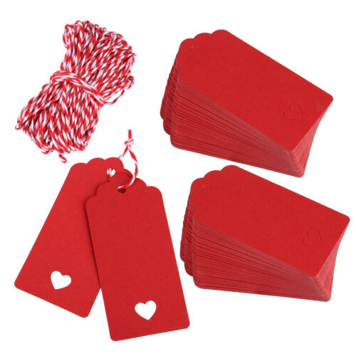 100pcs Christmas Red Heart Paper  Tags Party Label Gift Name Cards Tags