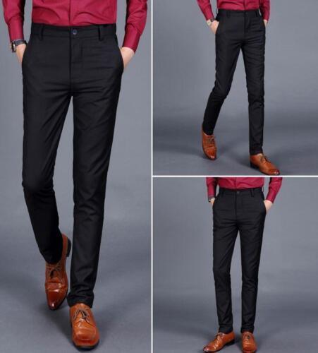 Mens Slim Business Pants Dress Formal Straight Leg Trousers Business sz 28-38