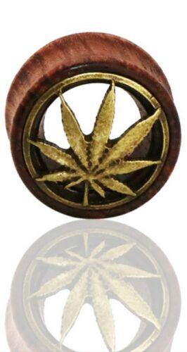 Ear Plug Tunnels Wooden Pot Cannabis Leaf Hollow Expander Stretcher Ear Piercing