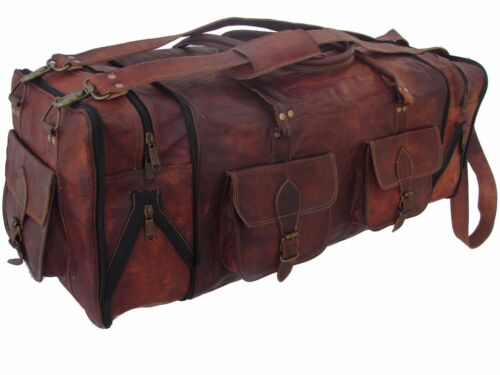 Leather Travel Bag Duffel Weekender Large Gym Duffle Overnight Carry On Luggage