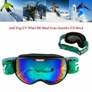 Kids Ski Goggles Anti UV Snowboard Windproof Double-layer Lens Frame Eye Glasses