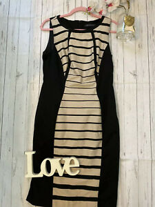 M-amp-S-Size-12-smart-work-office-business-career-dress-fitted-nude-black-stripe-GC