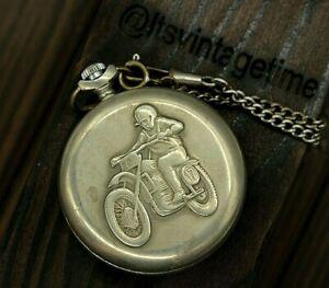 Pocket watch Molnija Biker Motorcyclist Motocross Vintage Soviet USSR Quartz