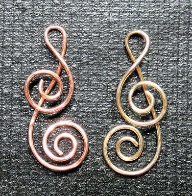 1 LG Double Spiral Treble Clef INTERCHANGEABLE SLIDE Pendant STERLING ROSE or YG