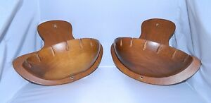 VTG-Pair-of-2-Woodcroftery-Signed-Wood-Mid-Century-Hanging-Wall-Pocket-Sconce