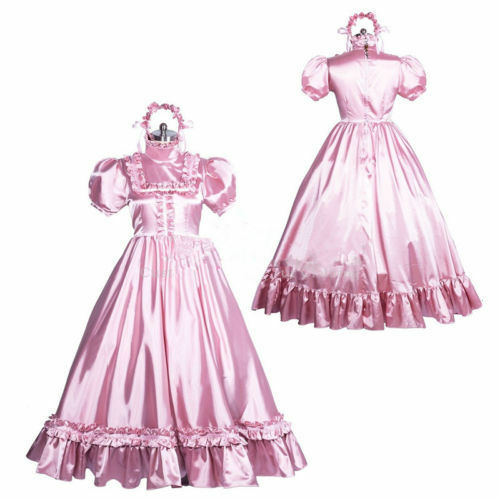 satin long sissy dress gothic lolita Tailor-made!Free shipping