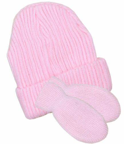 BabyPrem Baby Clothes Hat /& Gloves Set Blue Pink White Double Knitted 0-6 Months