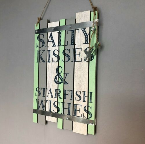 Salty Kisses /& Starfish Wishes Hanging Wood Sign 27 cm 55832