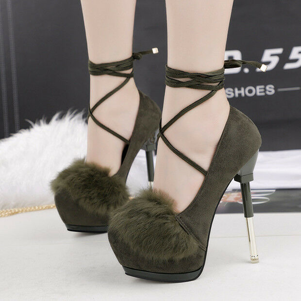 Éscarpins chaussures Hiver 15 Talons Aiguilles vert Lacets Cuir Synthetique