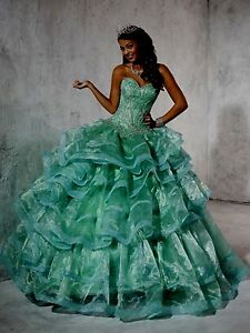 NWT-Mint-Green-Size-4-Prom-Gown-Quinceanera-Collection-26780-organza-jeweled