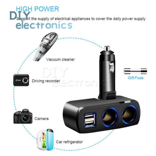 Car Cigare Lighter Splitter DC 12V Dual USB Charger Power Adapter US
