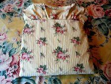 Ralph Lauren Danielle Sophie Marseille Floral Stripe Queen Flat Sheet Pink White