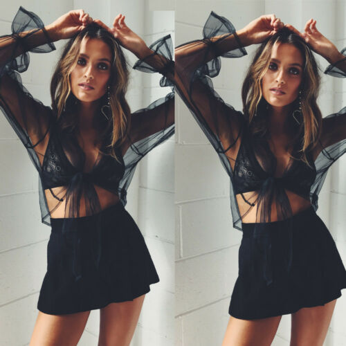 Women Perspective Chiffon T-Shirt Long Lantern Sleeve Hollow Blouse Casual Cloth