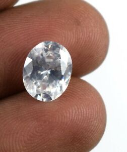 Free Certificate 4.65 Ct Oval White Sapphire Gemstone Natural Certified A15928