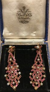 Fabulous-Large-18ct-Gold-Drop-Ruby-amp-Pearl-Earrings-22g