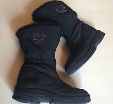 Circo Girls 12 Little Girl Winter Boots Snow Rain Sparkle Faux Fur Lining Black