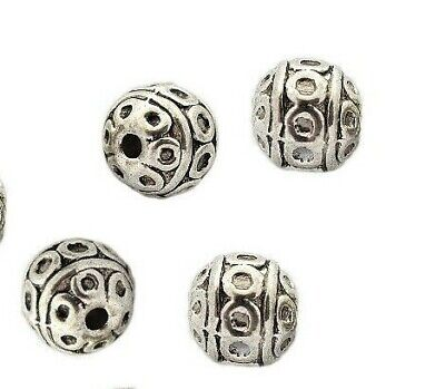 100x Metallperlen Kugel Spacer beads Perlen Zwischenperlen 8mm Silber