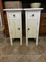 Pair H70 W30 D30cm Bespoke Bedside Hall Cupboard & Drawer Table Untreated Pine