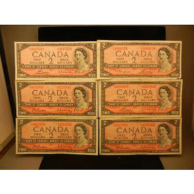 2G. (6) 1954 Canadian $2 Notes Lot 2G