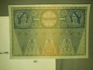 AUSTRIA-1000-KRONEN-1902-P-8-Uncirculated-AU-Crisp