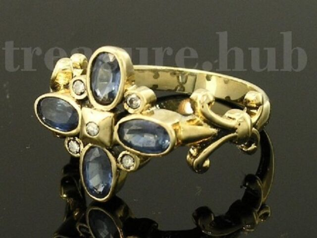 EXQUISITE Genuine 9ct SOLID Gold Natural SAPPHIRE & Diamond Blossom Ring size O