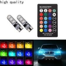 2X LED T10 Remote Control W5W 501 RGB Colour Changing Car Wedge Side Light Bulbs