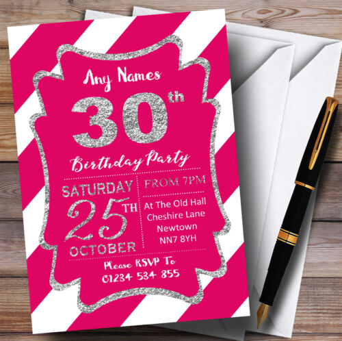 Pink White Diagonal Stripes Silver 30th Personalised Birthday Party Invitations