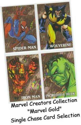 """Marvel Creators Collection 1998 /""""Marvel Gold/"""" Single Chase Card Selection"""