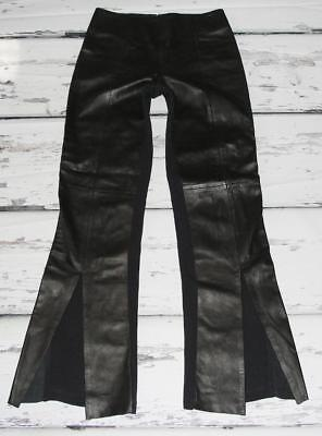 ISABEL~STRETCH~BACK POLYESTER~FRONT SOFT LEATHER *CUT-OUT SLITS* PANTS~4 (RARE)