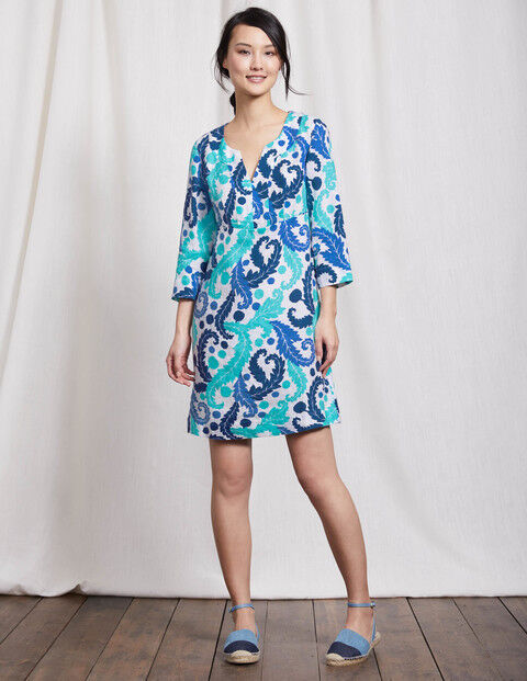 Boden Casual Linen Tunic Turquoise Size 12 rrp £70 LF170 FF 03