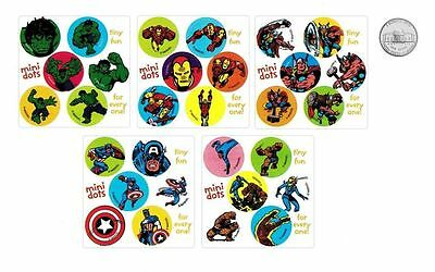 60 Marvel Super Heroes Dot Stickers Kid Party Goody Loot Bag Filler Favor Supply