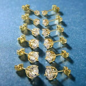 5-PACK-Earring-Stud-Earrings-in-14K-Gold-Plated-with-Swarovski-Crystals-ITALY