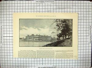 Original Old Antique Print 1889 Welbeck Abbey Lake Architecture Buildings 19th