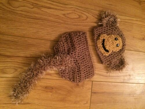 baby Boys Girls Crochet Hat Costume Photography Props Monkey Outfit 0-3 months