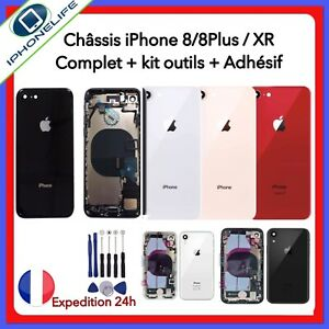 CHASSIS-ARRIERE-ASSEMBLE-COQUE-COMPLET-IPHONE-8-8-PLUS-XR-ROUGE-NOIR-BLANC-OR