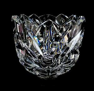 """SWEDISH CRYSTAL ARTIST SIGNED DOTS AND LEAVES LARGE HEAVY THICK 8 5/8"""" BOWL"""