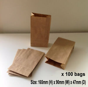 100-x-Small-Kraft-Brown-Paper-Flat-Bottom-Bags-Lolly-Gift-Wedding-Party-Favours