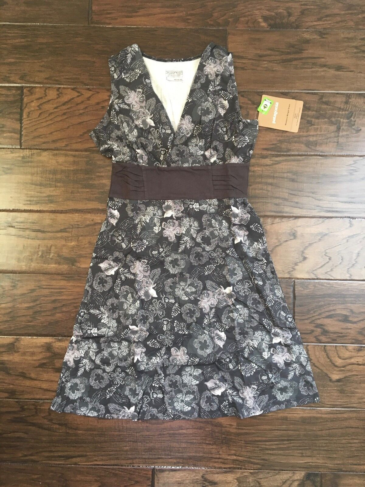 Patagonia Woherren Margot Dress Ink schwarz Weiß Floral Organic Cotton S