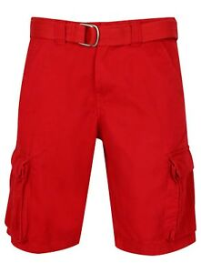 Mens Combat Cargo Shorts Work Red Big Large Chino New Knee Length Belt size NEW