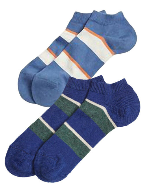 8451877e5b0 Brook Brothers Mens 2 Pack Wide Striped Wool Blend Ankle Socks Sz 7-12 18583