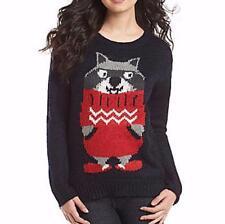Ugly Christmas Sweater Jumper Women L Raccoon Sweater novelty Jolt NWT $42