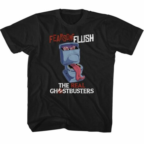Real Ghostbusters Fearsome Flush Black Children/'s T-Shirt