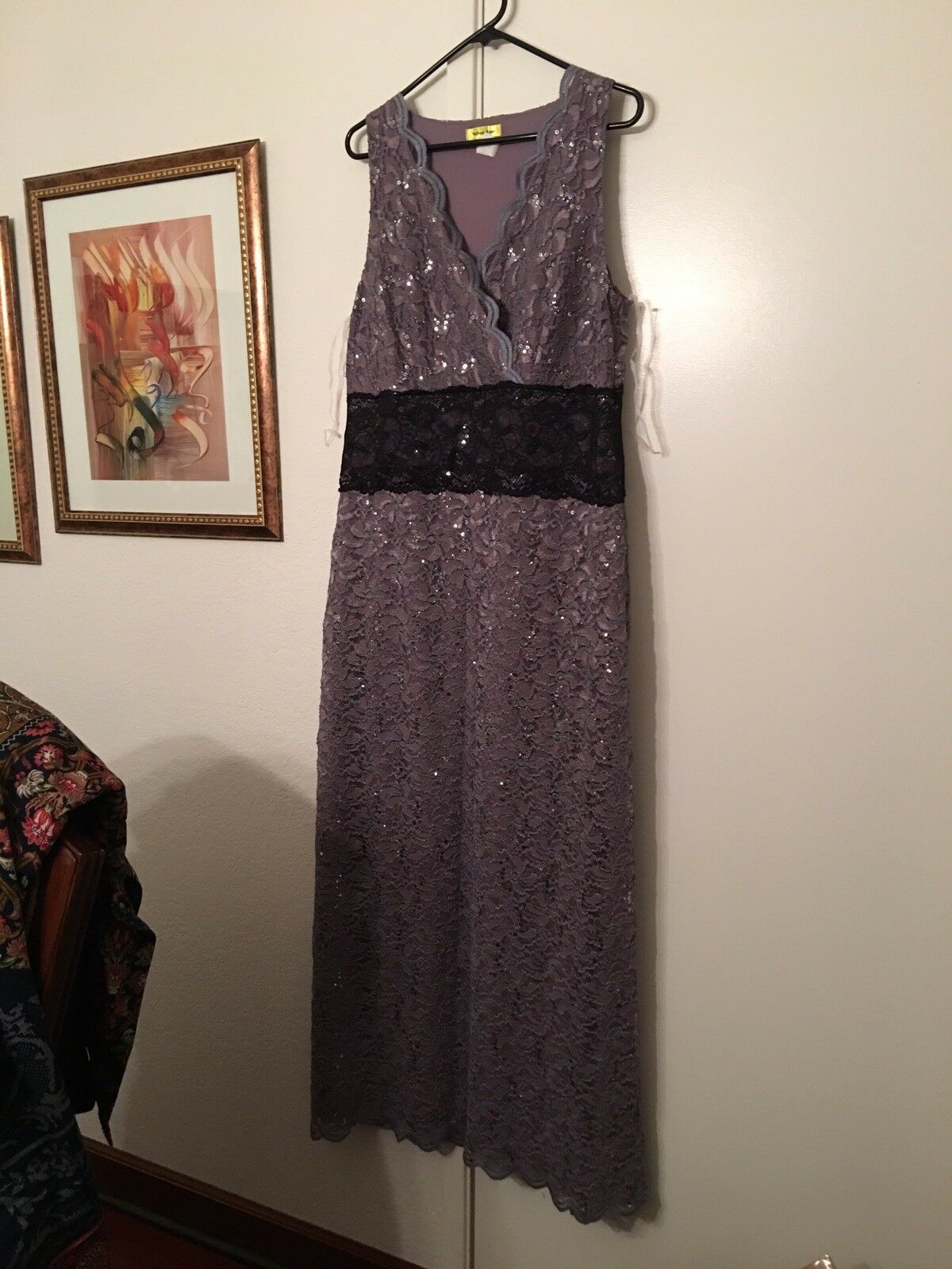 33d6a079cc NWOT ModCloth YellowStar Maxi Dress Dusky Purple Lace & Sequin IN SIZE 1XL