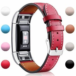Fitbit Charge 2 Replacement Bands Classic Leather Wristband Strap Small Red New