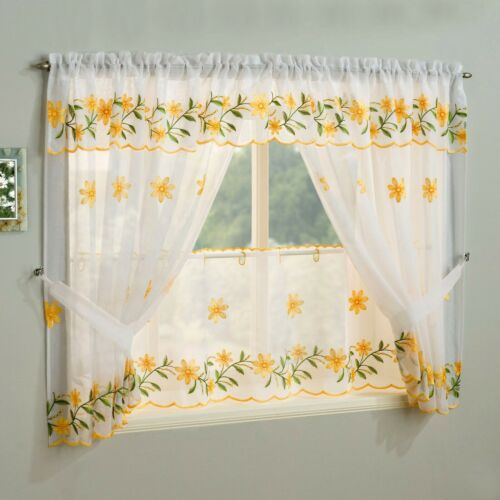 Curtains Pelmets Daisy White Kitchen Window Sets With Floral Embroidery Inc Tie Backs Valance Home Furniture Diy Quatrok Com Br